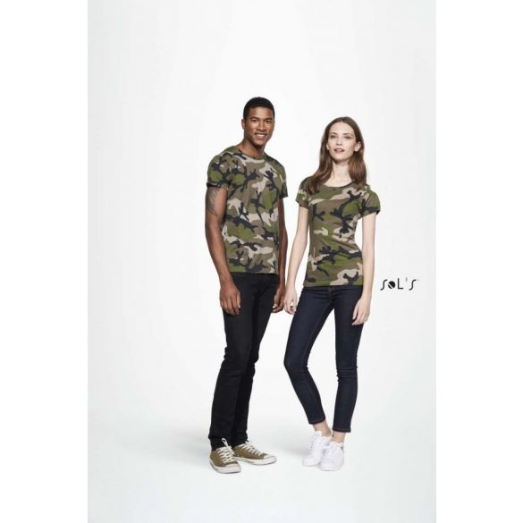 Sol's SO01187 CAMO WOMEN ROUND COLLAR T-SHIRT